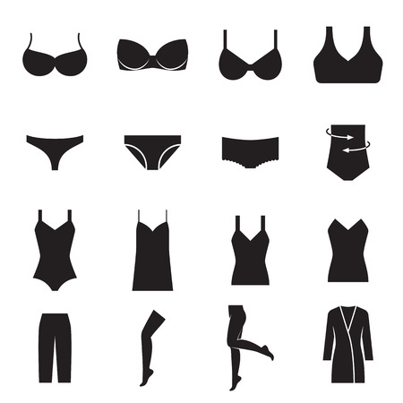 women: lingerie icons. Vector illustration