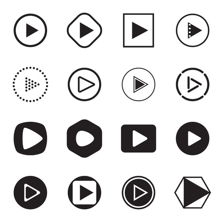 eject: Play button icons. Black icons isolated on a white background. Vector illustration Illustration