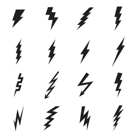 Lightning bolt icons. Vector illustration Stock Illustratie