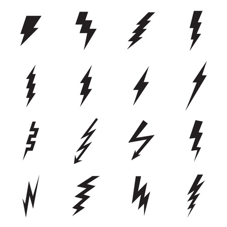 Lightning bolt icons. Vector illustration Vettoriali