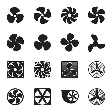 cooling: Fan icons isolated on a white background. Vector illustration