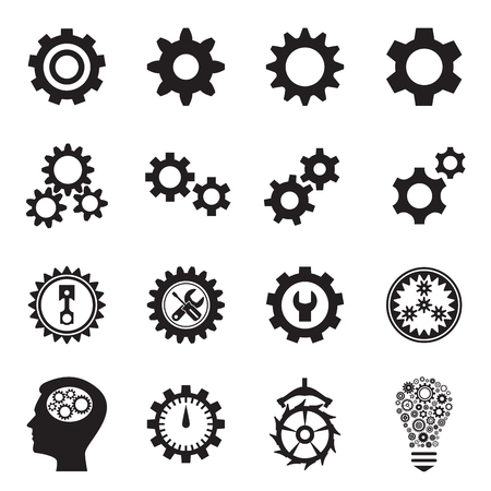 escapement: Cogwheel (gear) icons. Collecton of symbols - the setting for web sites and applications, repair and maintenance, transmission etc. Vector illustration