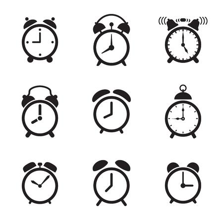 Alarm clock icons. Vector illustration