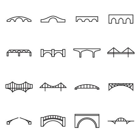 viaduct: Bridge icons. Vector illustration