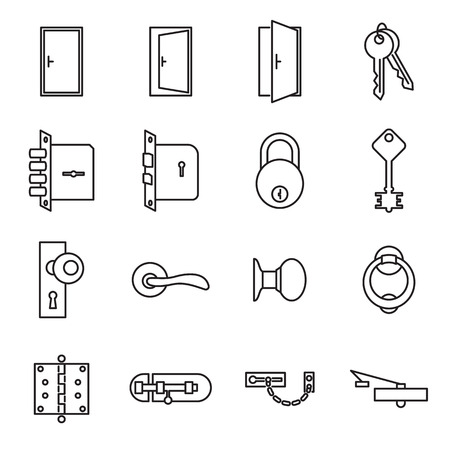 closer: Icons related to doors and locks. Vector illustration