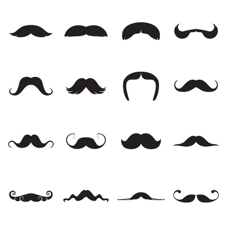 handlebar: Icons of moustaches. Vector illustration