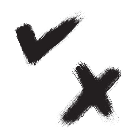 ex: Black hand painted check mark and X mark. Vector illustration Illustration