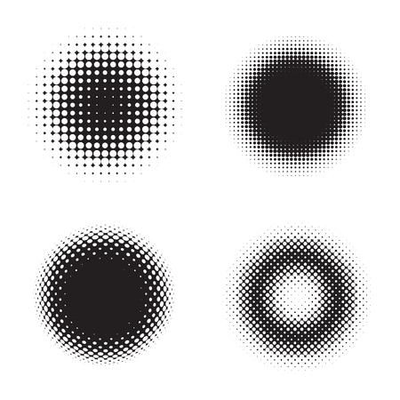 half: Four halftone circles. Vector illustration