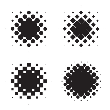 tone: Four halftone circles. Design elements. Vector illustration Illustration