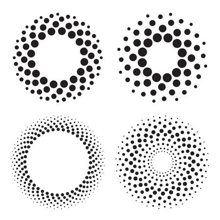 Cuatro círculos de semitono de los puntos. Elementos de diseño. ilustración vectorial
