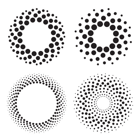 Four halftone circles of dots. Design elements. Vector illustration Illustration