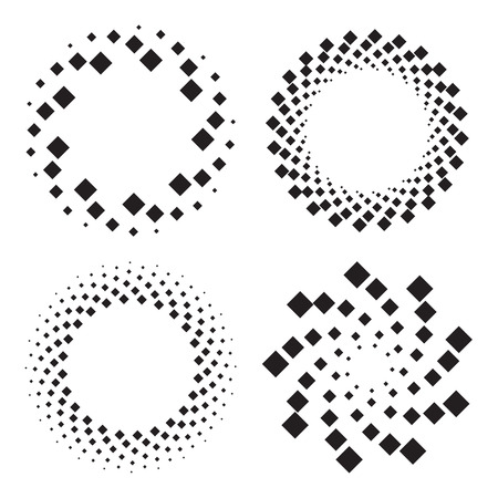 twisted: Four halftone circles of diamonds, twisted spiral. Design elements. Vector illustration Illustration