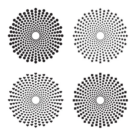 heart tone: Four halftone circles of: dots, stars, squares, and hearts. Vector design elements Illustration
