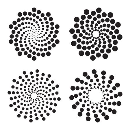 Halftone circles of dots, twisted spirals. Design elements. Vector illustration Иллюстрация