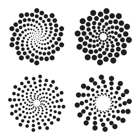Halftone cirkels van punten, twisted spiralen. Design elementen. vector illustratie