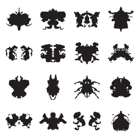 metodo cientifico: Colección de 16 manchas de tinta de la prueba de Rorschach. ilustración vectorial Vectores
