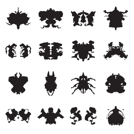 inkblots: Collection of 16  Rorschach test inkblots. Vector illustration