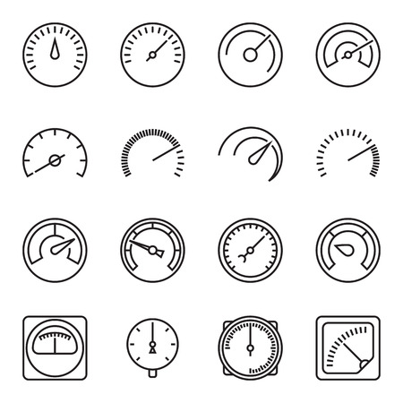 kilometer: Meter icons. Symbols of speedometers, manometers, tachometers, etc. Linear vector illustration