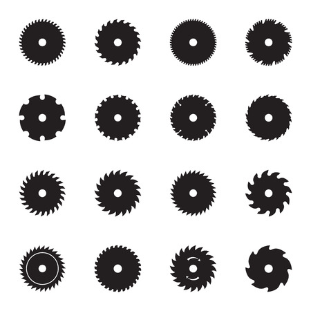Circular saw blade icons. Vector illustration Illustration
