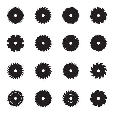 Circular saw blade icons. Vector illustration Vectores