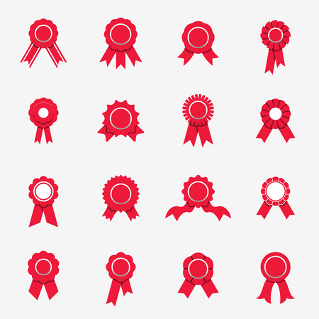 Red rosette icons. Vector illustration