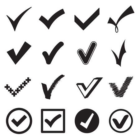 circle icon: Check mark icons. Vector illustration