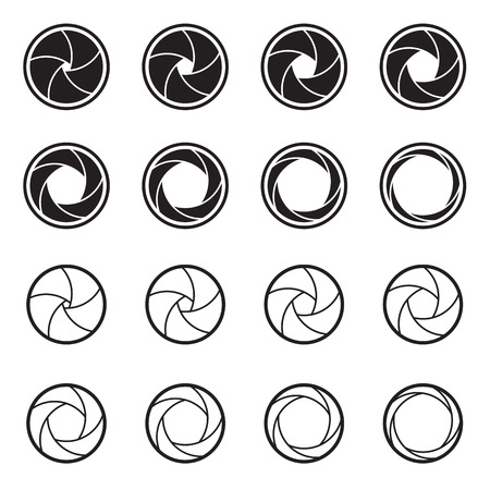 camera: Camera shutter icons isolated on a white background. Symbols of photo, video, cinema camera objectives and lens apertures. Vector illustration Illustration