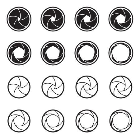 Kamera-Auslöser-Symbole auf einem weißen Hintergrund. Symbole von Foto, Video, Kino Kameraobjektive und Linsenaperturen. Vektor-Illustration