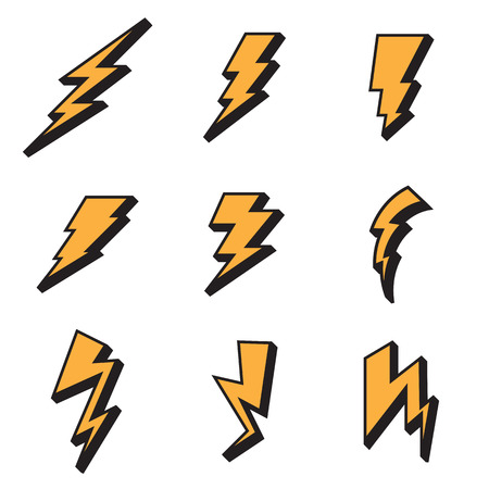 3d lightning: Lightning bolt icons. Vector illustration Illustration