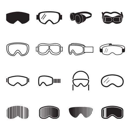 soldadura: Gafas de iconos. Gafas de seguridad iconos. ilustración vectorial Vectores