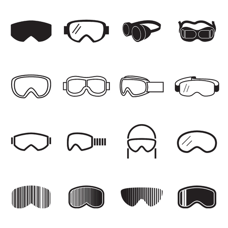 Goggles pictogrammen. Safety bril pictogrammen. vector illustratie