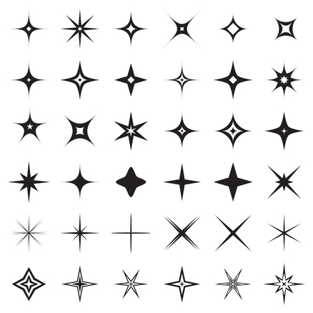 gaiety: Sparkle stars icons. Symbols of sparkle, glint. gleam, etc. Vector illustration