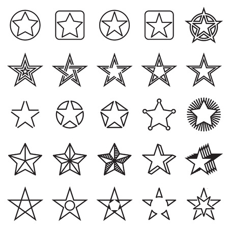 sherif: Collection of 25 linear star icons. Vector illustration