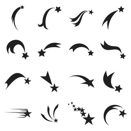 Shooting Star Icons. Fallender Stern-Symbole. Comet-Icons. Vektor-Illustration