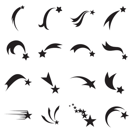Shooting star icons. Falling star icons. Comet icons. Vector illustration