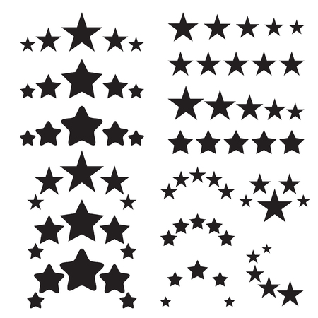 five stars: Five stars icons. Five-star quality icons. Five star symbols. Black icons isolated on a white background. Vector illustration