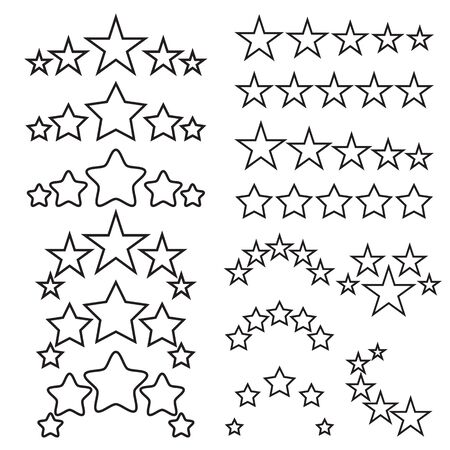 stars and symbols: Five stars icons. Five-star quality icons. Five star symbols. Black linear icons isolated on a white background. Vector illustration