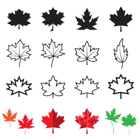 Icone foglia d'acero. illustrazione di vettore