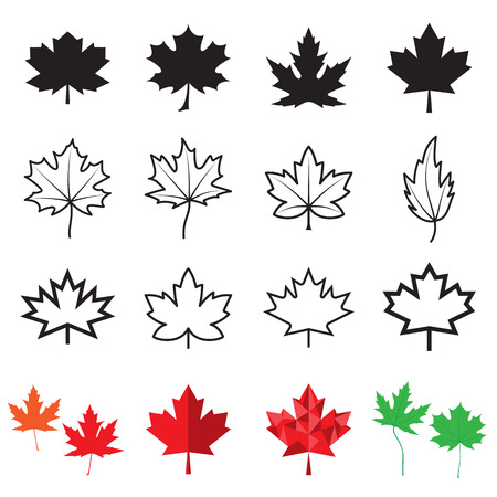 leaf line: Maple leaf icons. Vector illustration Illustration