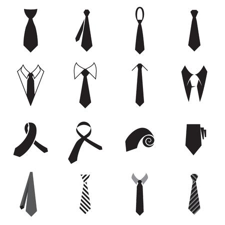 iconos corbata. Colección de iconos de lazo de los hombres aislados sobre un fondo blanco. ilustración vectorial