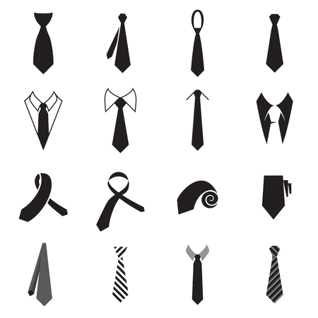 white shirt: Necktie icons. Collection of mens tie icons isolated on a white background. Vector illustration Illustration