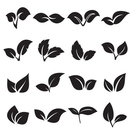 2 つの葉のアイコン。自然、天然物、生態学の概念。ベクトル図