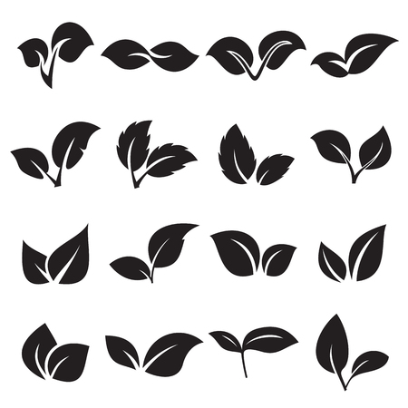 sprouts: Two leaves icons. Conceptions for nature, natural product, ecology. Vector illustration Illustration