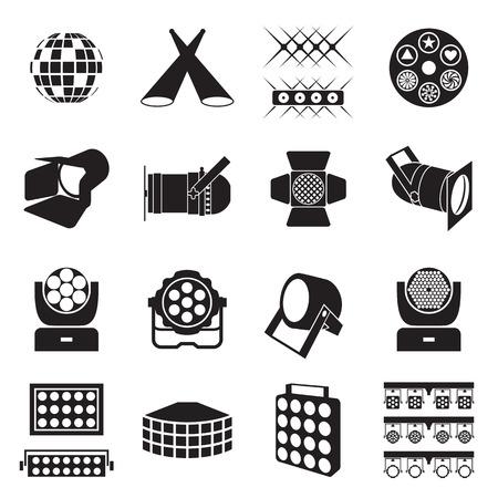 Ikony oświetlenia scenicznego. Scena ikony urządzeń oświetleniowych. ilustracji wektorowych