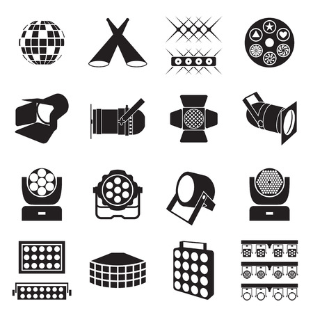 Stage lighting icons. Scene lighting equipment icons. Vector illustration