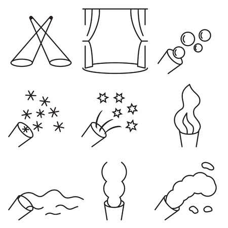 Linear icon set related to the stage special effects, such as light, generators of smoke, fog, foam, snow, flame, bubbles, confetti. Vector illustration