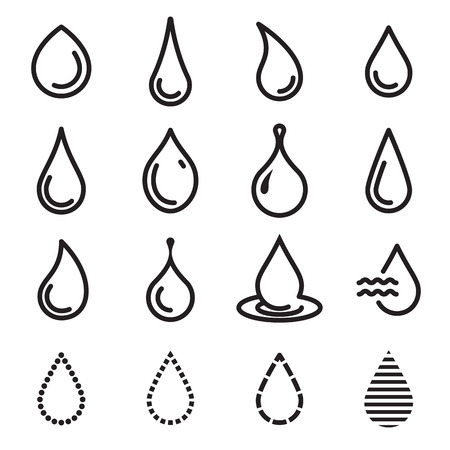tittle: Drop icons. Simple line drop icons isolated on a white background. Vector illustration