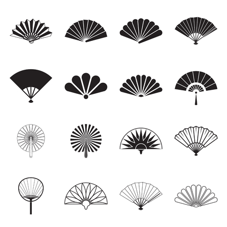 japanese fan: Hand fan icons. Collection of handheld icons isolated on a white background. Icons of folding and rigid fans. Vector illustration