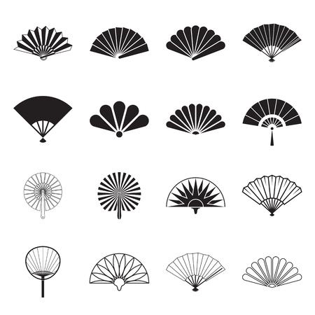 Hand fan pictogrammen. Het verzamelen van handheld pictogrammen geïsoleerd op een witte achtergrond. Iconen van vouwen en stijf fans. vector illustratie Stockfoto - 55128101