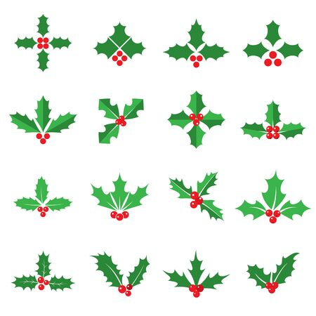 Holly berries and leaves icons. Collection of 16 Christmas symbols isolated on a white background. Vector illustration